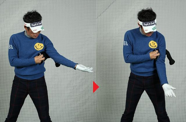 画像: 押さえつけるだけの挟み方では余計開く。ひじが下を向くようにヘッドカバーを挟むのが正解