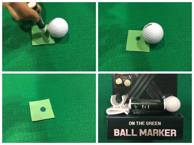 画像: ボールマーカー代わりにグリーン上に直接「塗る」みたいです。芝は平気なんでしょうか