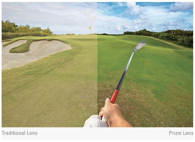 画像: 左はサングラスなし、右はサングラスをかけた場合。オークリーのゴルフ専用「PRIZM GOLF」はコースの起伏や奥行き、芝の状態を視認しやすくなり、より的確に狙いを定めることができる