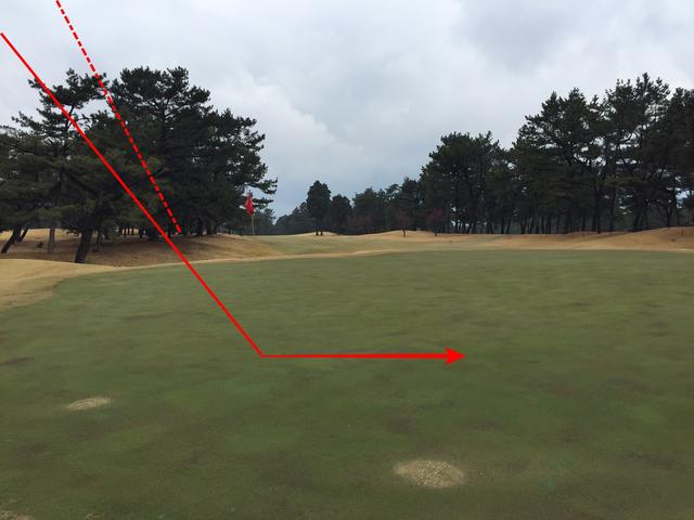 画像: 18番グリーン奥からティグラウンド方向をのぞむ。とんぼのセカンドショットは概ねこのような軌道を描いて、グリーンにオン