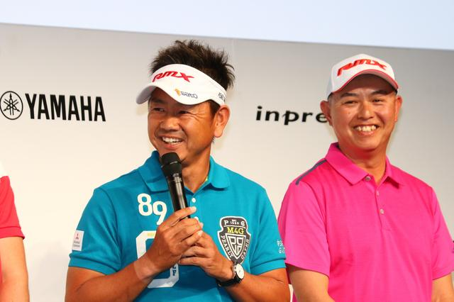 画像: 会見に同席した看板プロの藤田寛之(左)もこの大型契約にはビックリ。隣は谷口徹