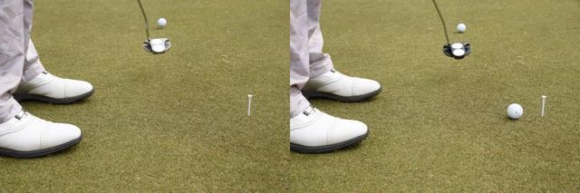 画像: 左がホワイト・ホット 2・ボール、右がO-WORKS 2-ボール。同じ地点から、10メートルのパットで転がりを比較した