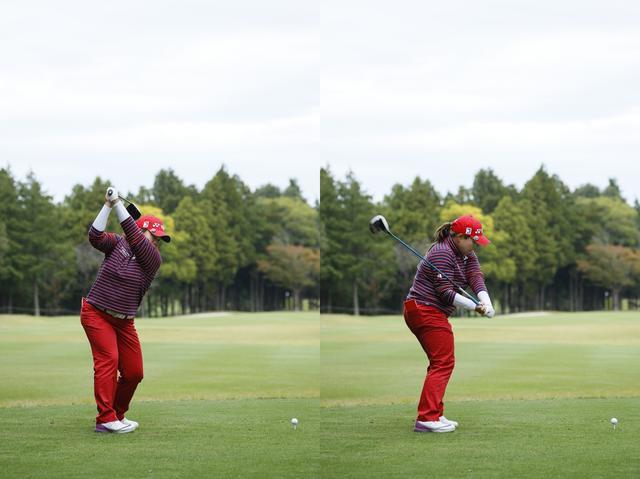 画像: 切り返し直後、すでに腰の位置はアドレス時と同じ位置に戻っている(写真右)。下半身で切り返している証拠