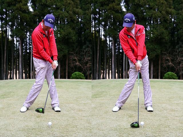 画像: 風に負けない強い球を打つぞ! と意気込むと、かえって体がツッコミがち(写真左)。いつも通りのシンプルなスウィングを心がけたほうが、かえって結果は良くなる