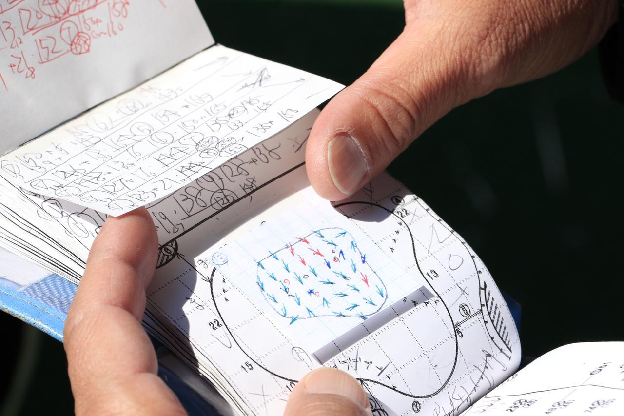 画像: 清水キャディのヤーデージブック。この圧倒的データ量がボミのゴルフを支える