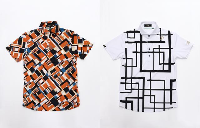 画像: 街着でも流行中のホリゾンタルカラ―と、ヨーロピアンブランドを思わせる幾何学模様がオシャレな半袖ポロ。胸にあしらったゴールドのロゴ刺繍が存在感アリ