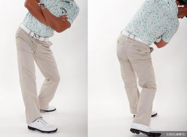 画像: 右ひざを伸ばすことでバックスウィング(左)。インパクトからフォローにかけては左ひざを伸ばす