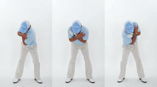 画像: 意識的な体重移動は行わず「中心軸」で振る