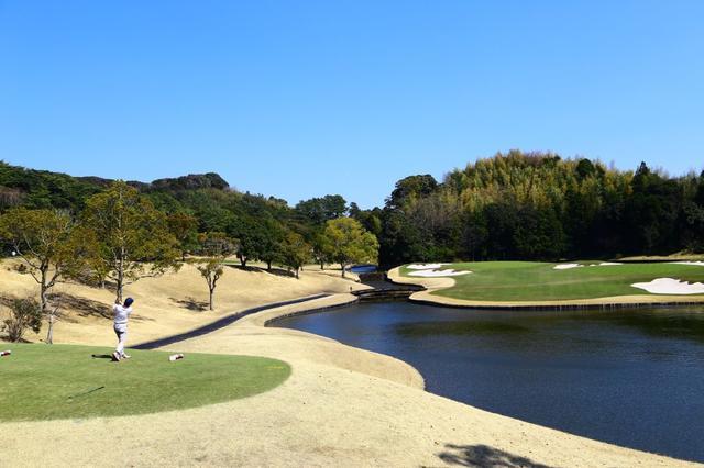 画像: 3方を池に囲まれた17番の名物パー3。渡邉彩香は最終日、惜しくもバーディを逃した
