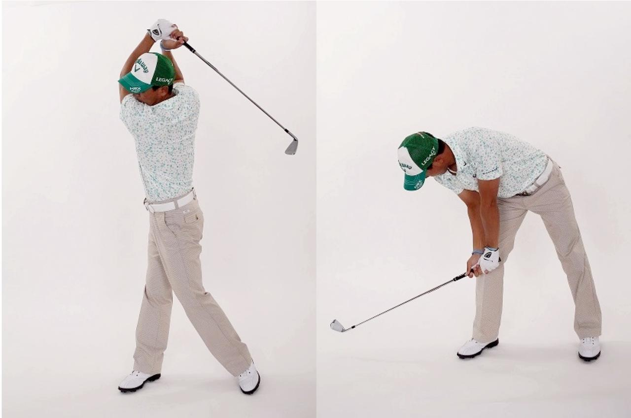 画像: 「体が右を向いた状態のままひざの動きで腕を真下に振り下ろしましょう」
