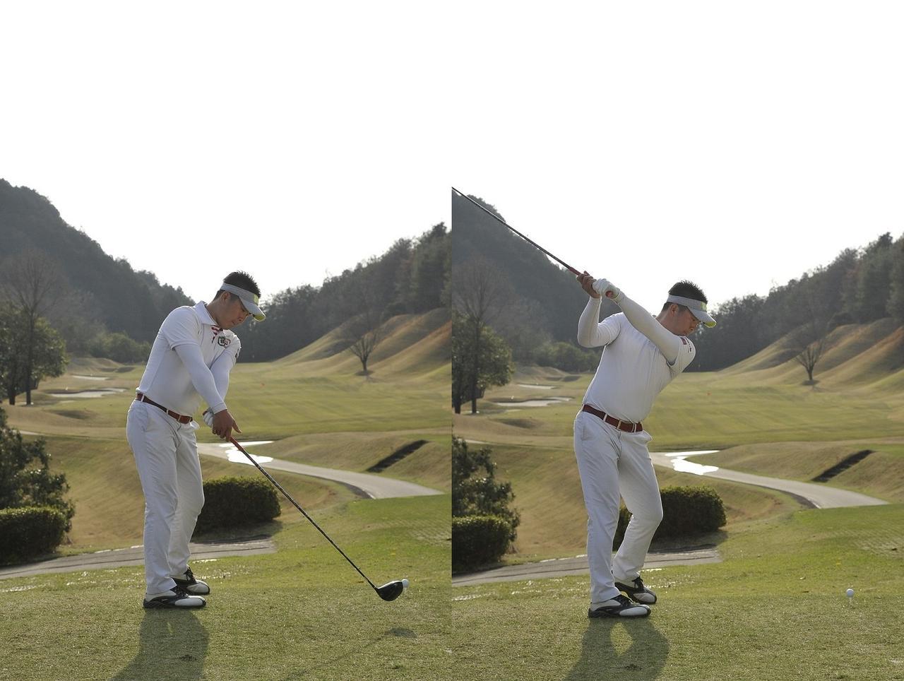 画像: 右かかとを踏みながら、肩も回す。その際、右足は伸びてOKだ。左足はヒールアップさせる