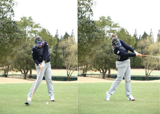 画像: タメないダウンスウィングから、左肩を支点に腕をターンさせていく