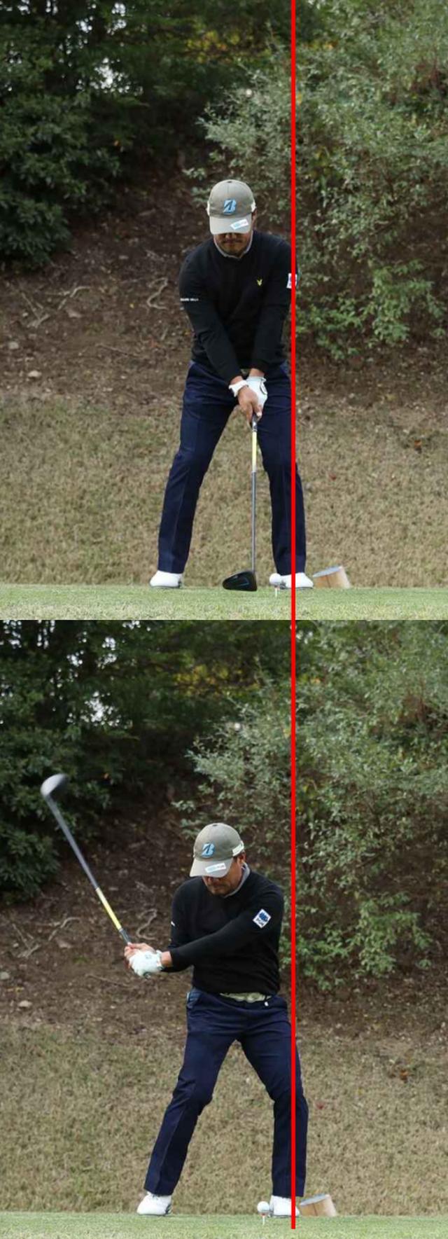 画像: 正確にアドレスの位置に戻される左ひざ。下半身が流れる動きは皆無だ