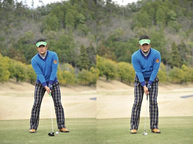 画像: ドライバーはボール位置は、頭の真下ではなく体の中心より左側にボールがあるが、9番アイアンのボール位置は、頭の真下だ
