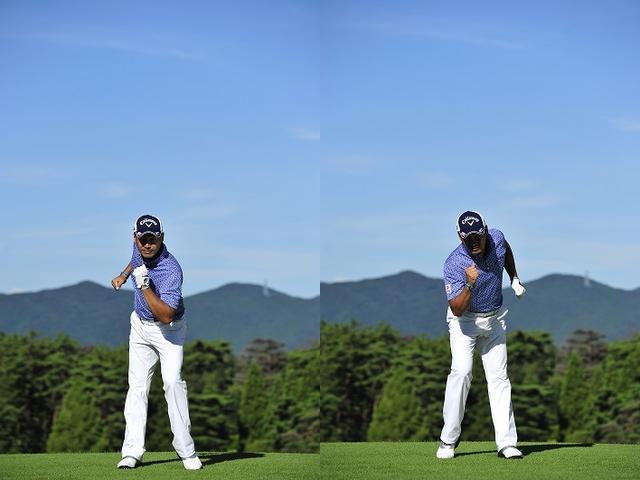 画像: つま先を地面に着けたまま足踏みして腕を振ると、ゴルフスウィングの動きとほとんど同じ!