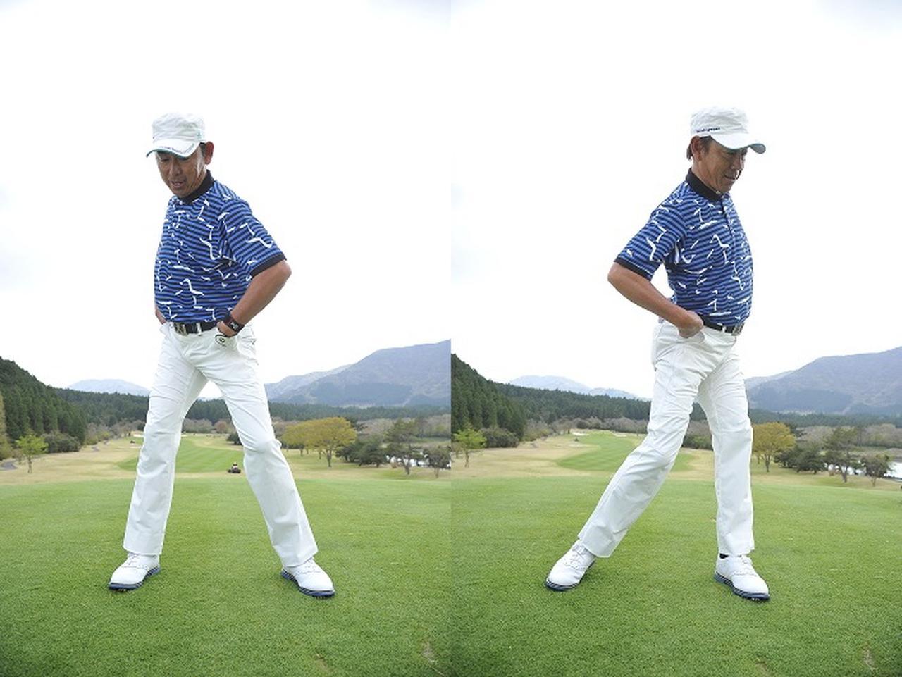 画像: 「右腰を落とさない!右サイドが下がると手元が浮いてヘッドが垂れダフりやすくなる」