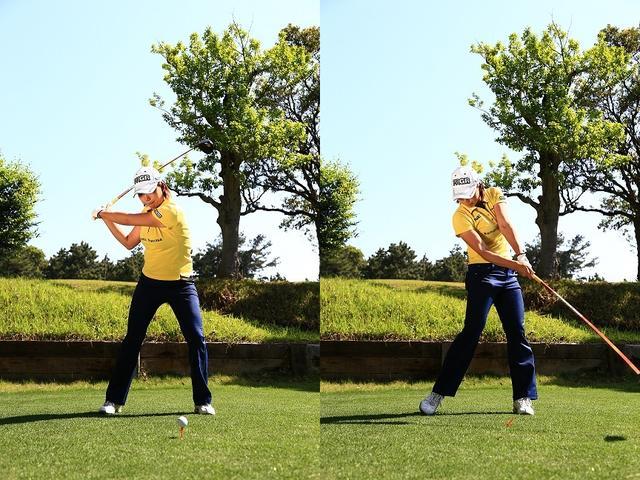 画像: 重は左足に乗せながらも、頭は右足の上に残すぐらいのイメージでいい