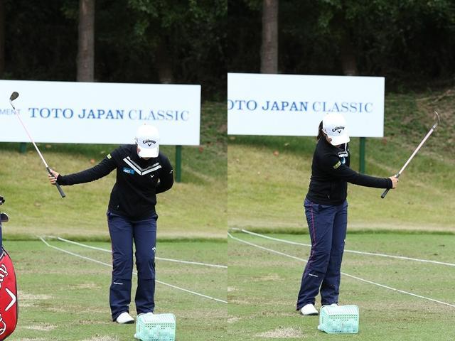 画像: コーもトップでは右胸を張っている。フォローでの右腕の回旋っぷりにも注目したい