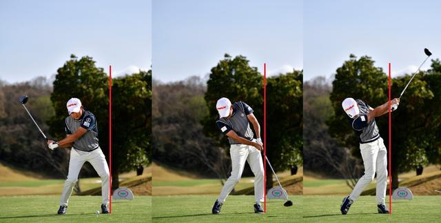 画像: 切り返しからインパクト後まで動かない不動の左ひざ