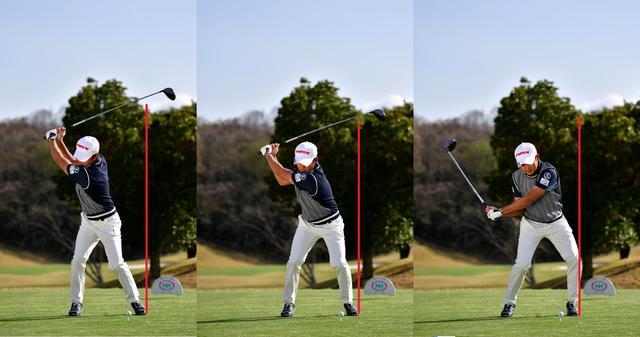 画像: トップから左ひざを動かす意識で上体を開かずに下半身リードで打てる