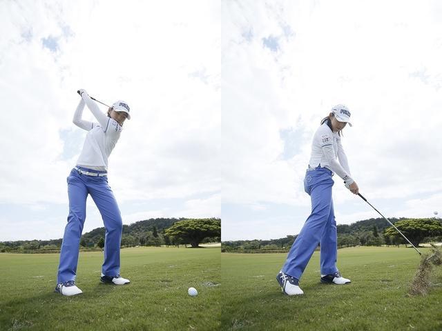 画像: 「上半身や腕の余計な力みをできるだけ取り、体の大きな部分を使ってスウィングすると、反復性が高まります」