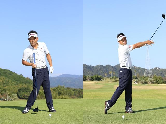 画像: インパクトでは軸は右。「逆Cの字」を作る(写真左)。フォローでは軸は左に移動。「クラブを放り投げるイメージです」(写真右)