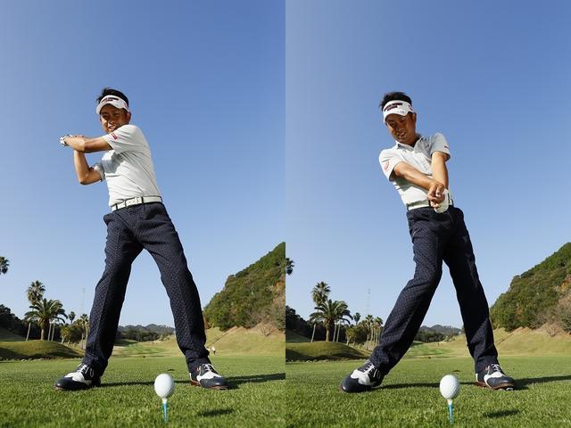 画像: トップの体重は右サイドに9割(写真左)。切り返しで右ひざをボールに向けると(写真左)アマチュアには難しい下半身リードの切り返しが可能になる