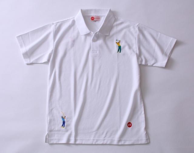 画像: ゴルファーをモチーフにした刺繍が2ヵ所、背面1ヵ所に入る