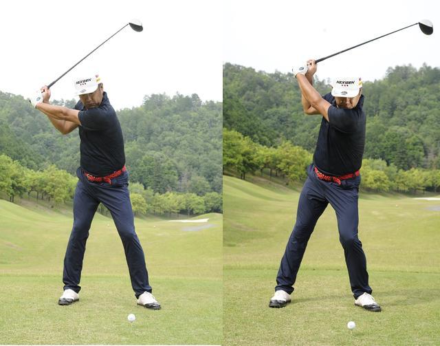 画像: ボールを凝視して打つと頭が左に突っ込んでしまう(写真右)。ボールをぼんやり見れば自然と頭は突っ込まない(写真左)