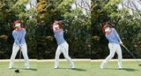 画像: 思い切って右へ移動しながらバックスウィングをとると、下半身リードでビハインド・ザ・ボールのインパクトを実現できる