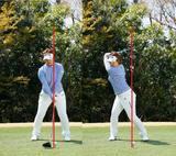 画像: 頭が右ひざの上に収まるくらい右へ移動しながらテークバックする