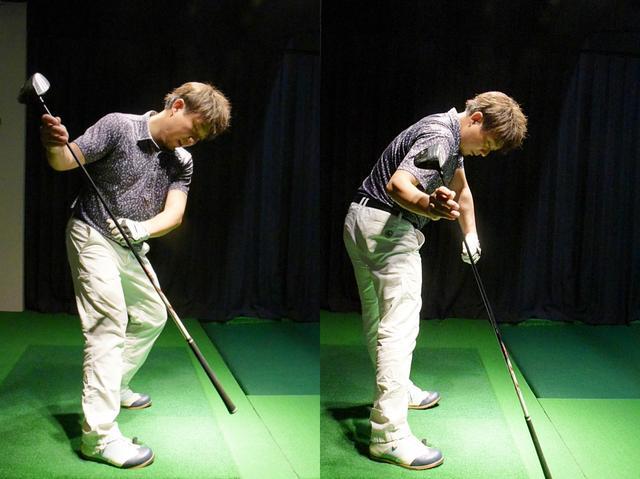 画像: 良い例。切り返し以降は斜め前に踏み込み(写真左)、跳ね返る力を利用して、斜め後ろに蹴る(写真右)