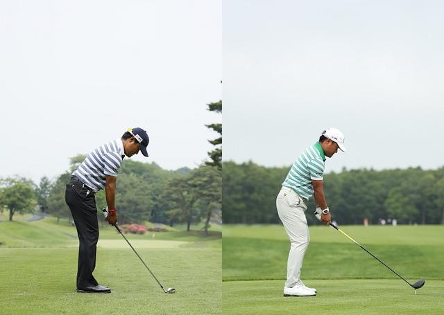 画像: アイアン(左)のときは前傾が深く、ドライバー(右)のときは前傾が浅くなっている