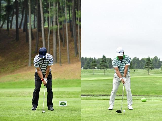 画像: 宮里優作のアドレス。アイアンのアドレス(左)は右肩の傾きが小さいのに比べて、ドライバーのアドレス(右)は右肩の傾きが大きい
