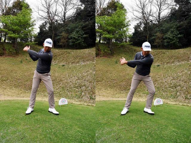 画像: 2016年までのチャン・キムのスウィングイメージ。トップ(写真左)からの切り返しで左にググッと体重移動(写真右)していたが、背中を痛めてしまった
