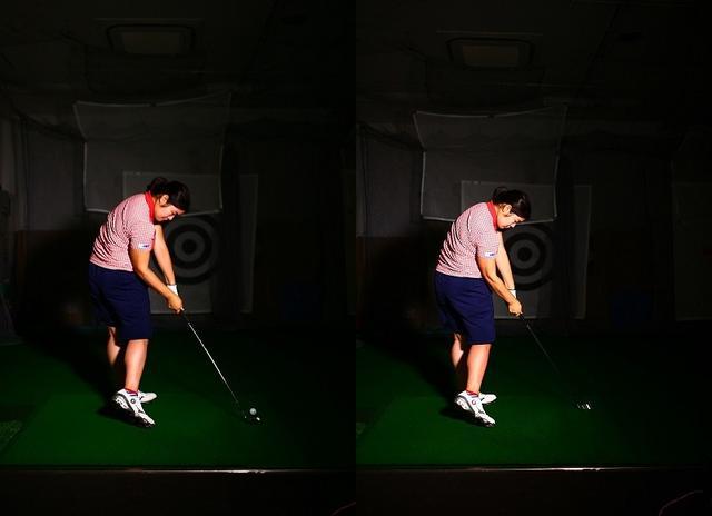 画像: 7番アイアンの素振り(右)とショット(左)。ボールがなければ見分けがつかないほど酷似している。「100点の素振りができても、コースでは60点程度。だから素振りは地味でも大切なんです」
