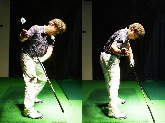 画像: 右足裏で地面を踏み(写真左)、その反動で右斜め上方向に右足を蹴り上がる(写真右)