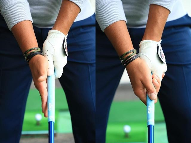画像: 右手のひらをスクェアにして(左)、そのまま握ればいいグリップになる(右)