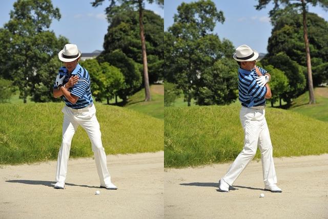 画像: スウィング軸を右に傾けたまま振る