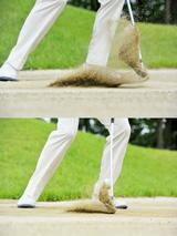 画像: 上が硬い砂のときのインパクト、下が軟らかい砂のインパクト