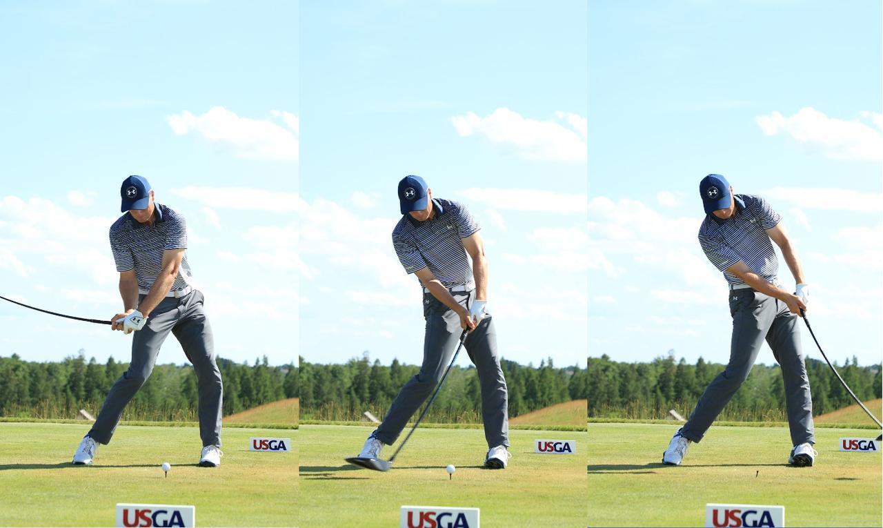 画像: インパクト前後の手首の角度を変えずに押し込むから方向性はよい