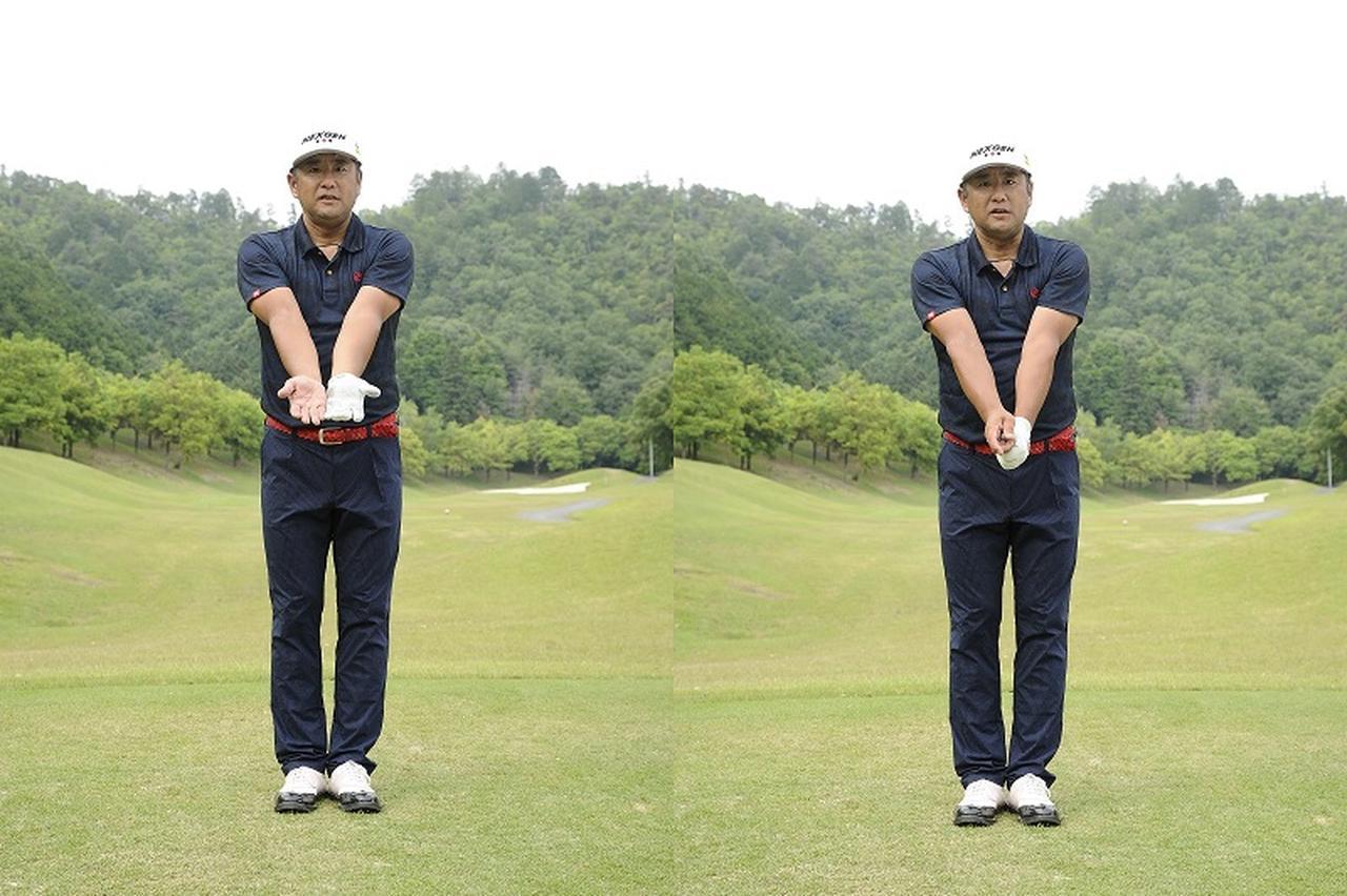 画像: 両ひじが体の前にあれば、体と腕が同調するのでミスが出ない