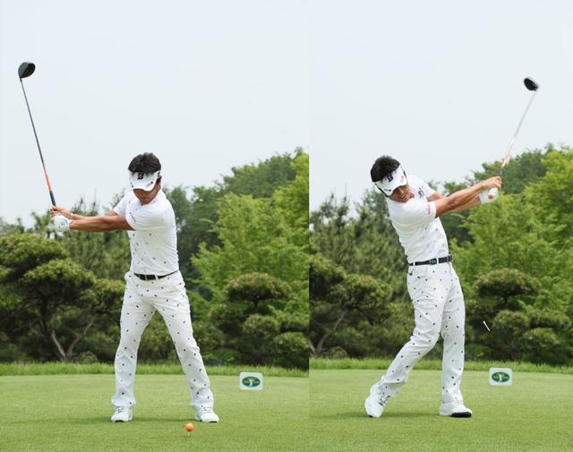 画像: クラブの動きがバックスウィングとフォローで体を中心に左右対称