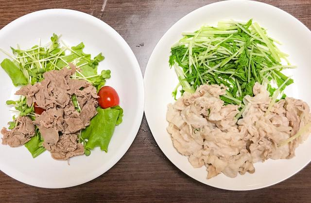 画像: 夕飯は、牛と豚のしゃぶしゃぶにしてみました。茹でるだけだからカンタン!