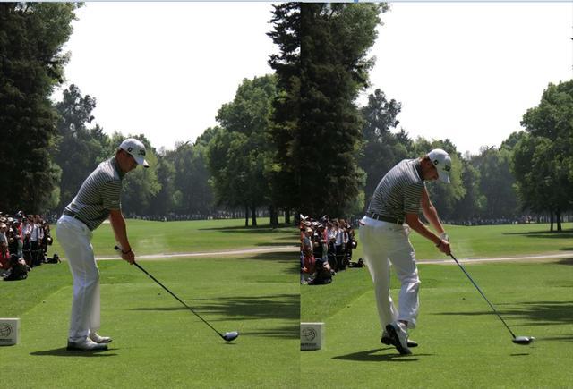 画像: アドレスでグリップエンドとおへその距離は拳3個分程度離れている。