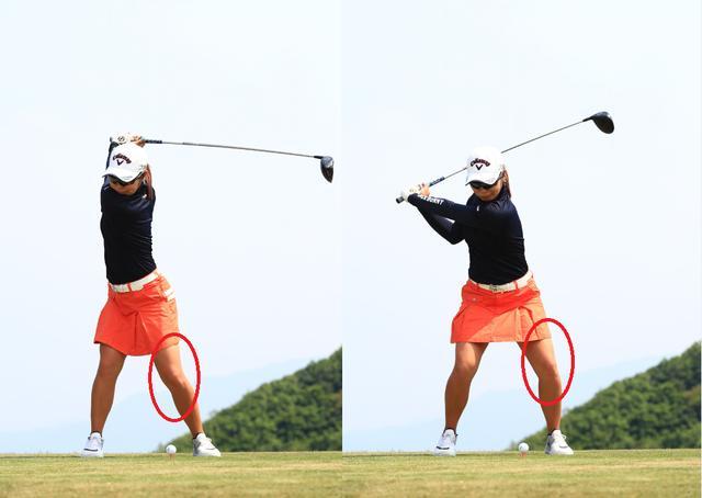 画像: トップからの切り返しは左ひざをアドレスの位置に戻す動作から始める
