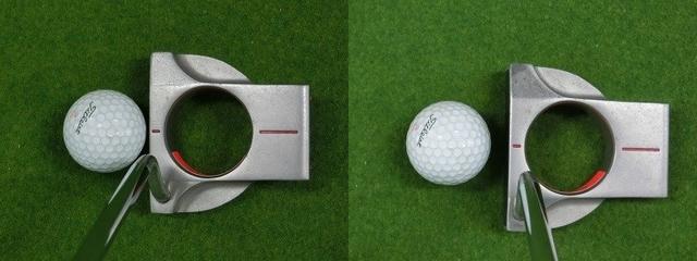 画像: 図7.ライ角が合っていても、ハンドファースト(ロフトを減少させる)にすると左のように見え、ロフトを過剰に構えると右のように見える。このように見え方によって構え方の違い(ロフトの増減)がわかると言うわけだ