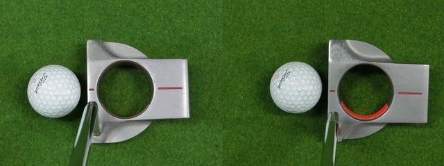 画像: 図6.左のようにライ角通りに構えるとテープが見えないが、右のようにトウを浮かせて構えるとテープが見える。この場合、ロフトを相殺しないとボールは左に転がりやすい