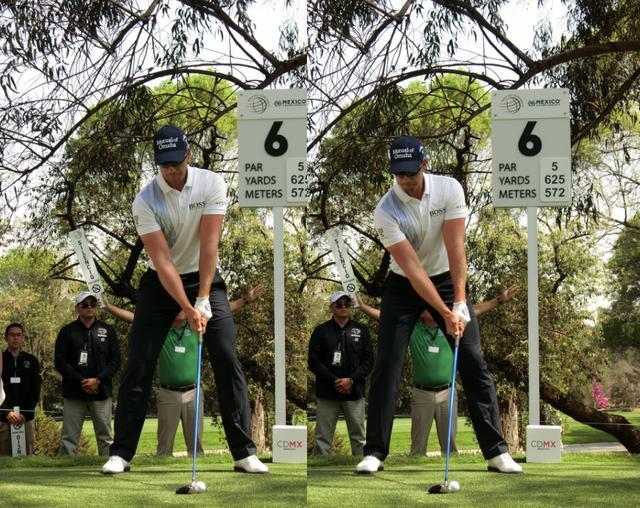画像: スウィングの始動のきっかけはフォワードプレスと右への体重移動