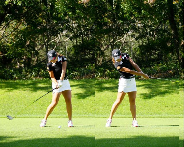 画像: 腰は左の壁ができる位置まで回り切ったところで止まり、上半身と腕の振りを支える